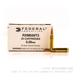20 Rounds of Bonded 5.56x45 Ammo by Federal RXM556T3 - 62gr SP