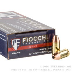50 Rounds of .380 ACP Ammo by Fiocchi - 90gr JHP