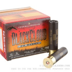 """25 Rounds of 12ga Ammo by Federal Blackcloud - 3-1/2"""" 1 1/2 ounce BBB"""