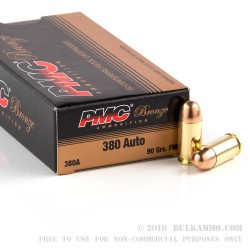 900 Rounds of .380 ACP Ammo by PMC - 90gr FMJ