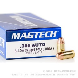 50 Rounds of .380 ACP Ammo by Magtech - 95gr FMC