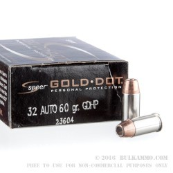 20 Rounds of .32 ACP Ammo by Speer - 60gr JHP