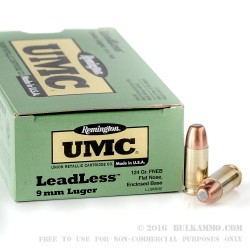 50 Rounds of 9mm Ammo by Remington - 124gr FNEB