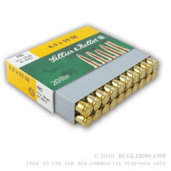 20 Rounds of 6.5x55mm SE Ammo by Sellier & Bellot - 140gr FMJ