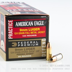 120 Rounds of 9mm Ammo by Federal Combo Pack - 124gr FMJ / 124 gr JHP