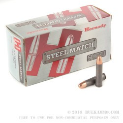 50 Rounds of .30 Carbine Ammo by Hornady - 110gr FMJ Steel Match