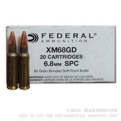 20 Rounds of 6.8 SPC Ammo by Federal - 90gr Bonded Soft Point