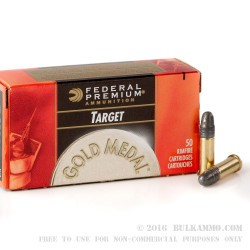 50 Rounds of .22 LR Ammo by Federal Gold Metal Target - 40gr Solid Lead