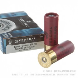 5 Rounds of 12ga Ammo by Federal Power Shok - 1 1/4 ounce - Rifled Slug Hollow Point