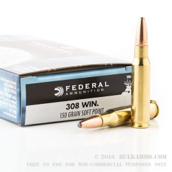 20 Rounds of .308 Win Ammo by Federal - 150gr SP