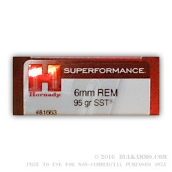 200 Rounds of 6 mm Rem Ammo by Hornady Superformance - 95gr SST
