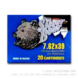 500  Rounds of 7.62x39mm Ammo by Silver Bear - 123gr FMJ