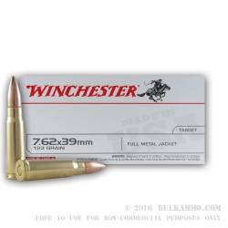 20 Rounds of 7.62x39mm Ammo by Winchester - 123gr FMJ
