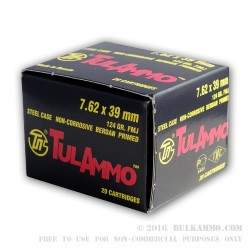 1000 Rounds of 7.62x39mm Ammo by Tula - 124gr FMJ