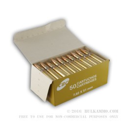 1000 Rounds of 7.62x51mm M80 Ammo by Magtech - 147gr FMJ