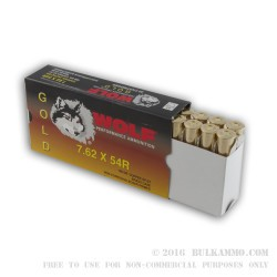 20 Rounds of 7.62x54r Ammo by Wolf - 180gr SP