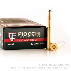 200 Rounds of 30-30 Win Ammo by Fiocchi - 150gr PSP