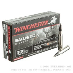 20 Rounds of .308 Win Ammo by Winchester Supreme Silvertip - 150gr Polymer Tipped
