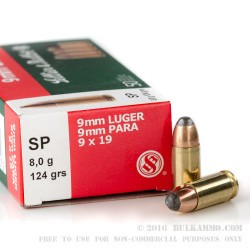 50 Rounds of 9mm Ammo by Sellier & Bellot - 124gr SP