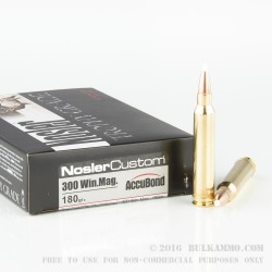 20 Rounds of .300 Win Mag Ammo by Nosler Trophy Grade Ammunition - 180gr Polymer Tipped
