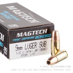 50 Rounds of 9mm Ammo by Magtech - 147gr JHP Bonded