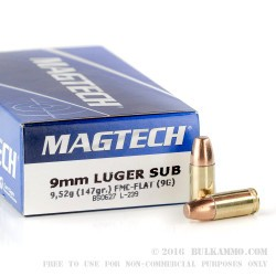 50 Rounds of 9mm Subsonic Ammo by Magtech - 147gr FMC