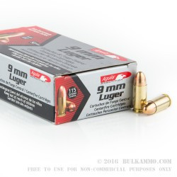 50 Rounds of 9mm Ammo by Aguila - 115gr FMJ
