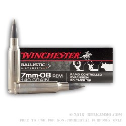 20 Rounds of 7mm-08 Ammo by Winchester - 140gr Ballistic Silvertip