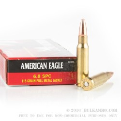200 Rounds of 6.8 SPC Ammo by Federal American Eagle - 115gr FMJ