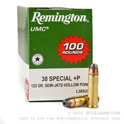 600 Rounds of .38 Spl Ammo by Remington - 125gr SJHP
