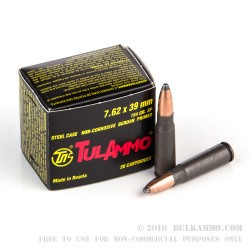 1000 Rounds of 7.62x39mm Ammo by Tula - 154gr SP