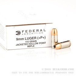 50 Rounds of 9mm Ammo by Federal LE - 115gr +P JHP