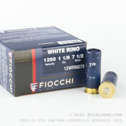 "250 Rounds of 12ga Ammo by Fiocchi White Rino - 2-3/4"" 1 1/8 ounce #7 1/2 shot"