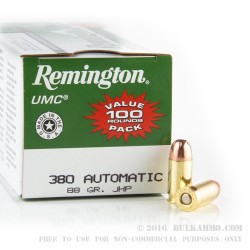 100 Rounds of .380 ACP Ammo by Remington - 88gr JHP