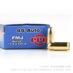 1000 Rounds of .45 ACP Ammo by Prvi Partizan - 230gr FMJ
