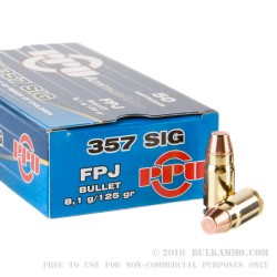 1000 Rounds of .357 SIG Ammo by Prvi Partizan - 125gr FMJ