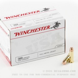 500  Rounds of .38 Spl Ammo by Winchester - 130gr FMJ