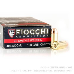 50 Rounds of .40 S&W Ammo by Fiocchi - 180gr CMJTC