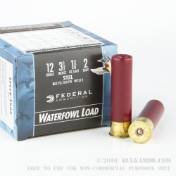 """25 Rounds of 12ga 3-1/2"""" Waterfowl Ammo by Federal - 1 3/8 ounce #2 Shot (Steel)"""