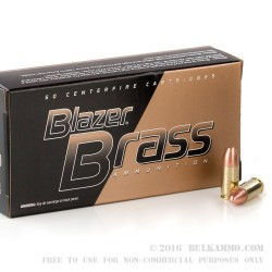 50 Rounds of 9mm Ammo by Blazer Brass - 124gr FMJ
