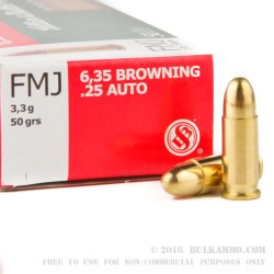 50 Rounds of .25 ACP Ammo by Sellier & Bellot - 50gr FMJ