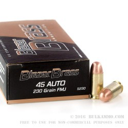 1000 Rounds of .45 ACP Ammo by Blazer Brass - 230gr FMJ