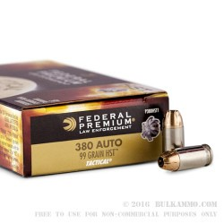 1000 Rounds of .380 ACP Ammo by Federal Tactical - 99gr HST JHP