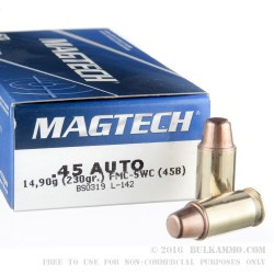 50 Rounds of .45 ACP Ammo by Magtech - 230gr FMC Semi-Wadcutter