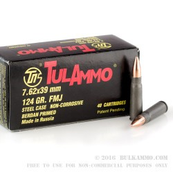 40 Rounds of 7.62x39mm Ammo by Tula - 124gr FMJ