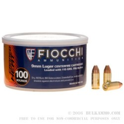 1000 Rounds of 9mm Canned Heat Ammo by Fiocchi - 115gr FMJ