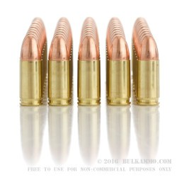 50 Rounds of 9mm Ammo by BVAC New - 124gr FMJ