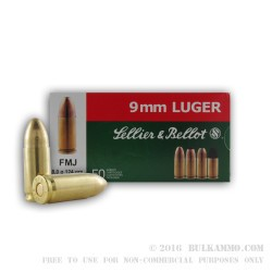 50 Rounds of 9mm Ammo by Sellier & Bellot - 124gr FMJ