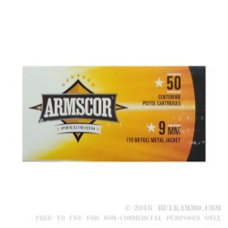 50 Rounds of 9mm Ammo by Armscor Precision- 115gr FMJ