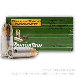 50 Rounds of 9mm +P Ammo by Remington Golden Saber Bonded - 124gr JHP